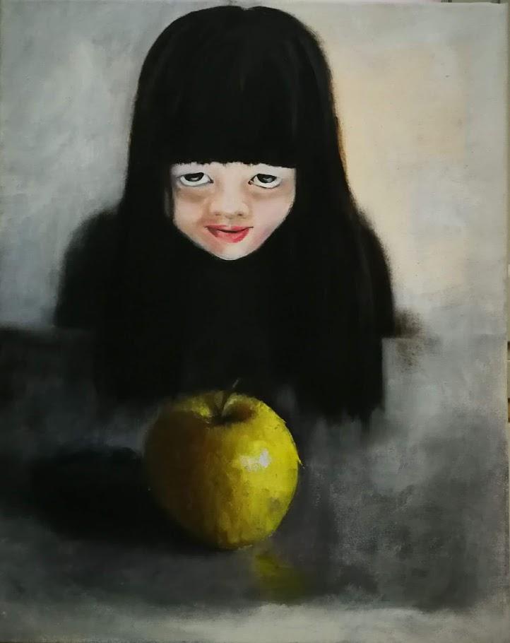 40X50 ילדה ותפוח שמן קנבס